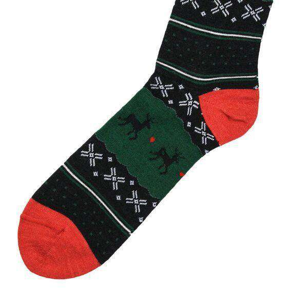 Men's Fair Isle Reindeer Socks in Black by Byford