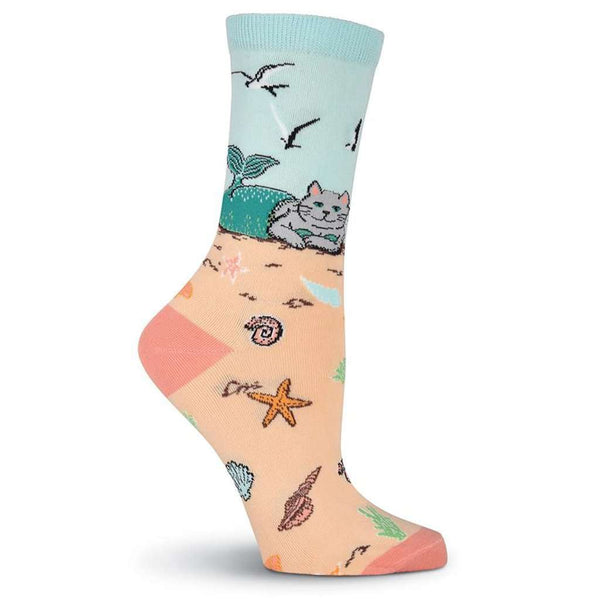 Women's Mermaid Cat Crew Socks by K. Bell Socks - FINAL SALE