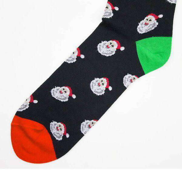 Socks - Santa Socks In Black With Red By Byford