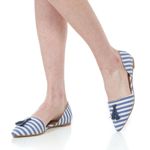 Caroline Flat in Navy Stripe by Southern Proper  - 1