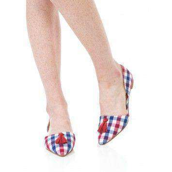 Caroline Flat in Red/Navy Gingham by Southern Proper  - 1