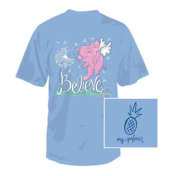 Southern Fried Cotton Believe Tee in Sky Blue