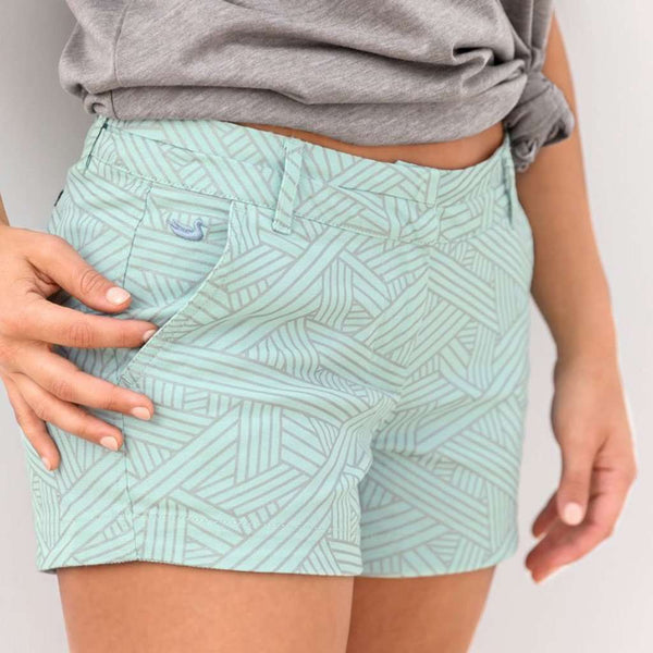 Fractured Lines Brighton Short in Ocean Green by Southern Marsh