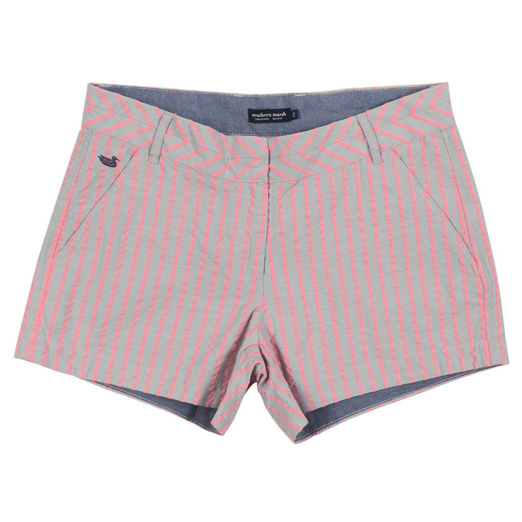 Southern Marsh Turner Stripe Brighton Short in Light Gray