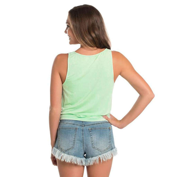 Ellie Tie Waist Tank in Lucite Green by The Southern Shirt Co.
