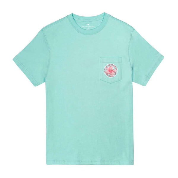 Flamingo Palm SS in Aqua Splash by The Southern Shirt Co.. - FINAL SALE