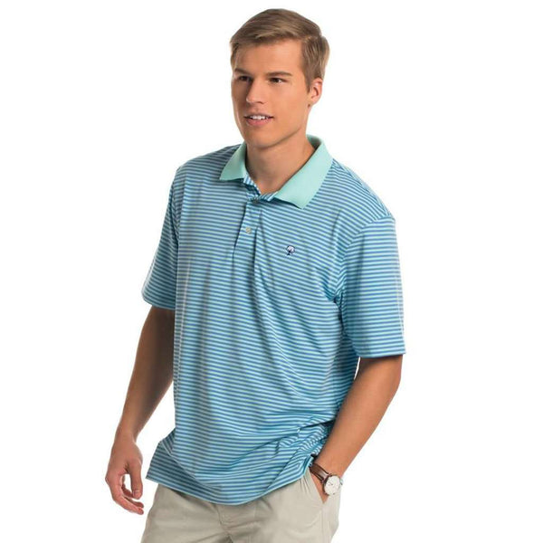 Hilton Stripe Polo in Ocean Breeze by The Southern Shirt Co.. - FINAL SALE