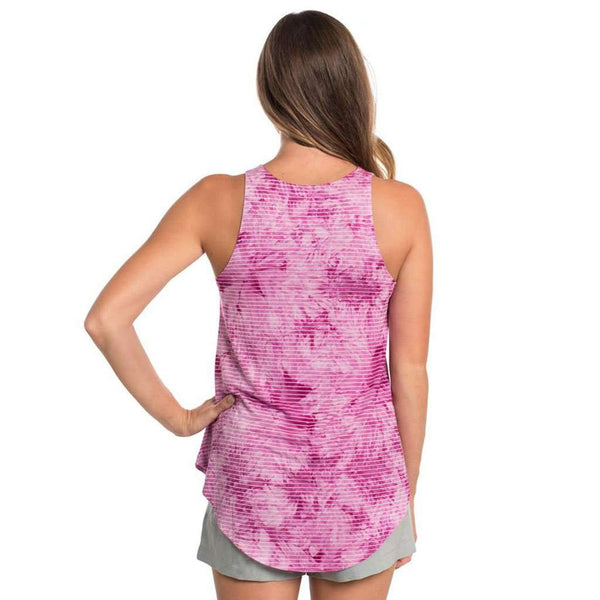 Marbled Hi-Neck Tank in Fuchsia Pink by The Southern Shirt Co.