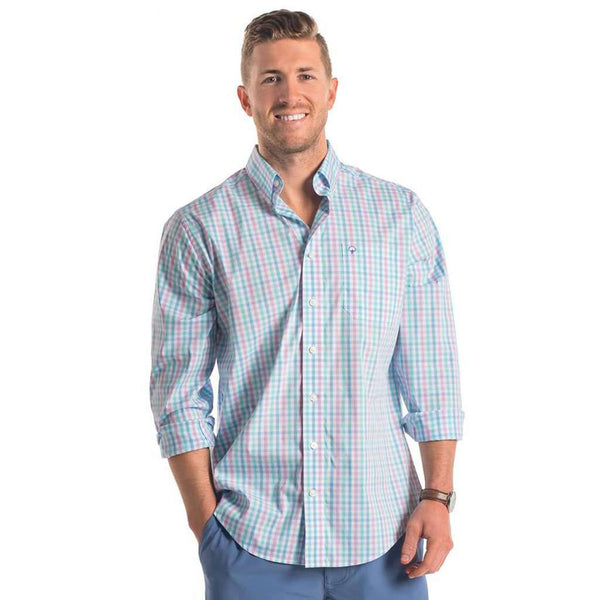 Palmetto Check Button Down in Mirage by The Southern Shirt Co.. - FINAL SALE