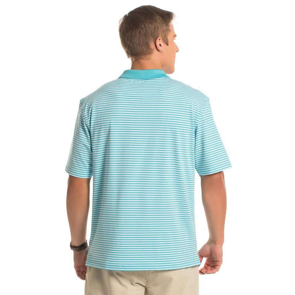 The Southern Shirt Co. Peabody Stripe Polo in Capri by The Southern Shirt Co..
