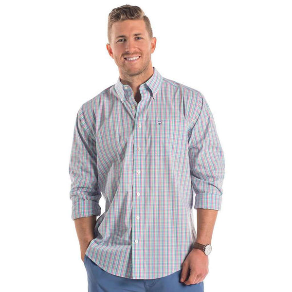 Sandpiper Plaid Button Down in Oasis by The Southern Shirt Co.. - FINAL SALE