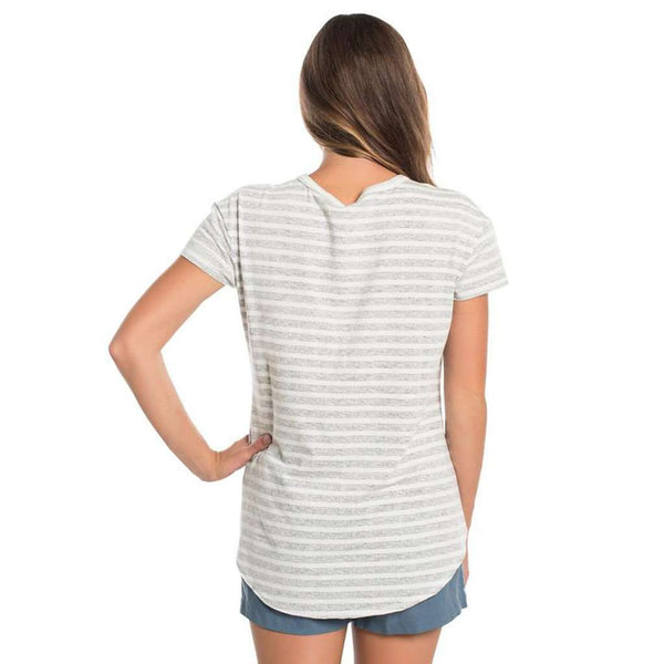 The Southern Shirt Co. Striped Ali Vneck SS in Quarry by The Southern Shirt Co..