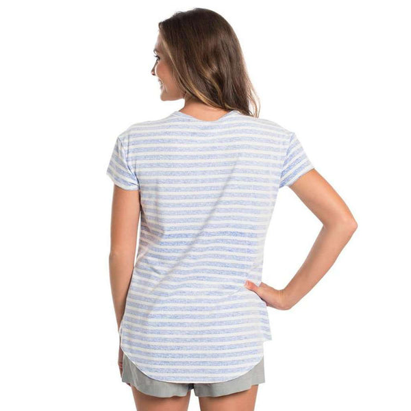 Striped Ali Vneck SS in Vista Blue by The Southern Shirt Co..