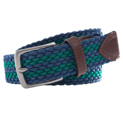 Southern Tide Braided Elastic Striped Web Belt in Augusta Green