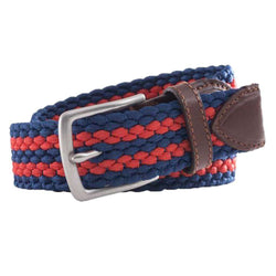 Southern Tide Braided Elastic Striped Web Belt in Sea Coral