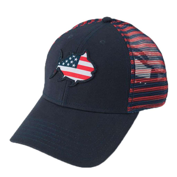 Flag Skipjack Striped Trucker Hat in Navy by Southern Tide