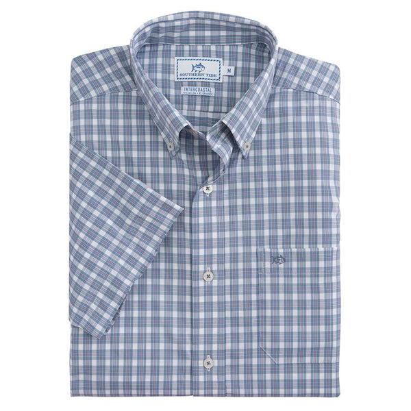 Southern Tide Friars Bay Plaid Intercoastal Performance Short Sleeve Shirt in Colony