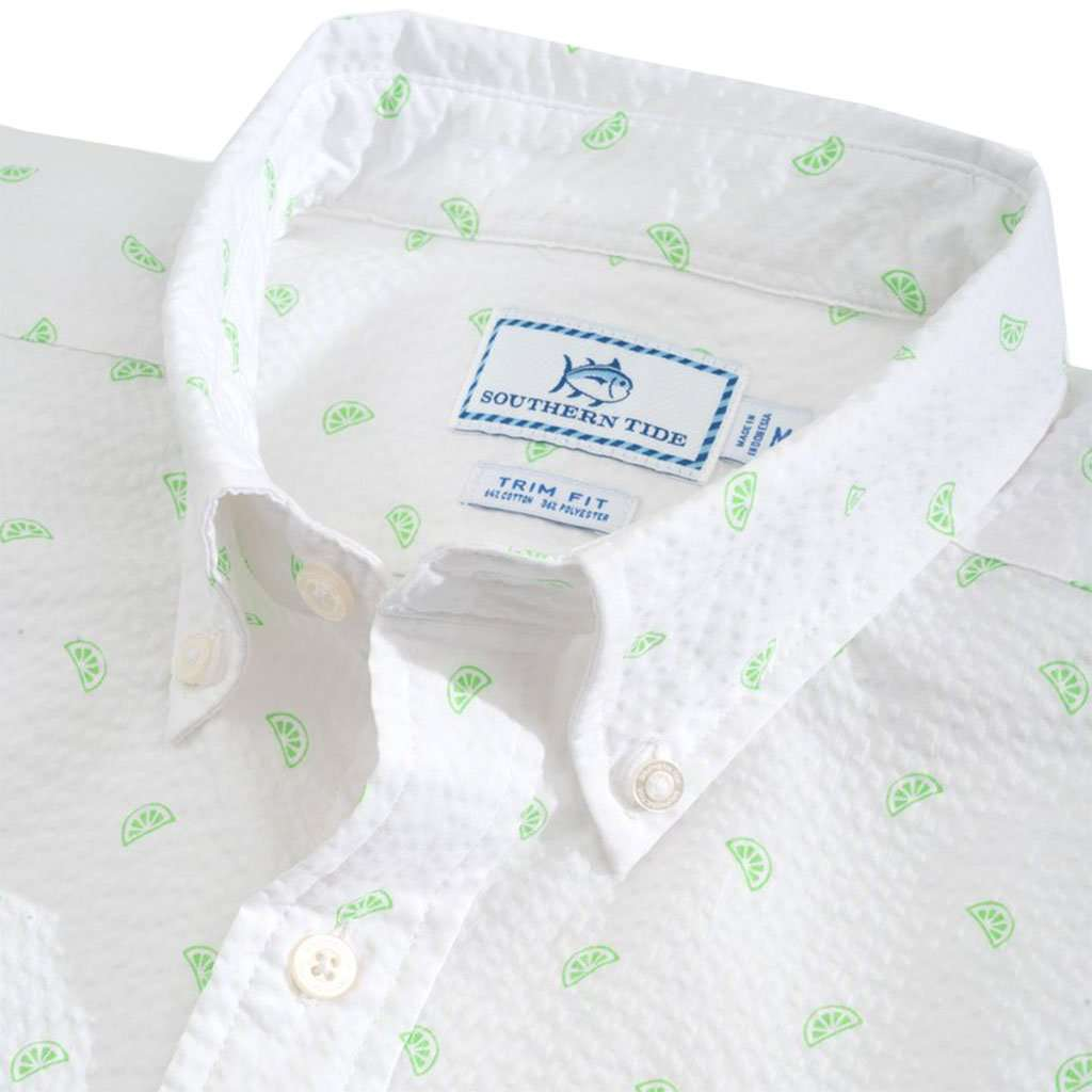 Pick Up Limes Seersucker Short Sleeve Button Down by Southern Tide