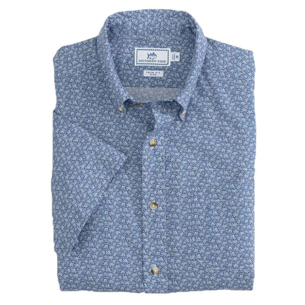 26450a9e522 Southern Tide Sea Turtles Short Sleeve Button Down by Southern Tide Country  Club Prep Pompeii Blue / S