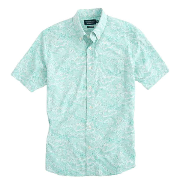 Southern Tide Reyn Spooner Wave Print Intercoastal Performance Sport Shirt by Southern Tide