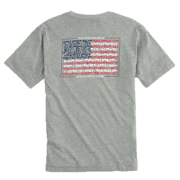 Southern Tide We The People Flag T-Shirt in Heather Grey