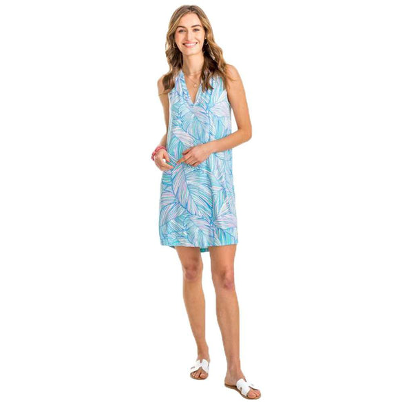 Southern Tide Jamie Palm Print V-Neck Sleeveless Dress