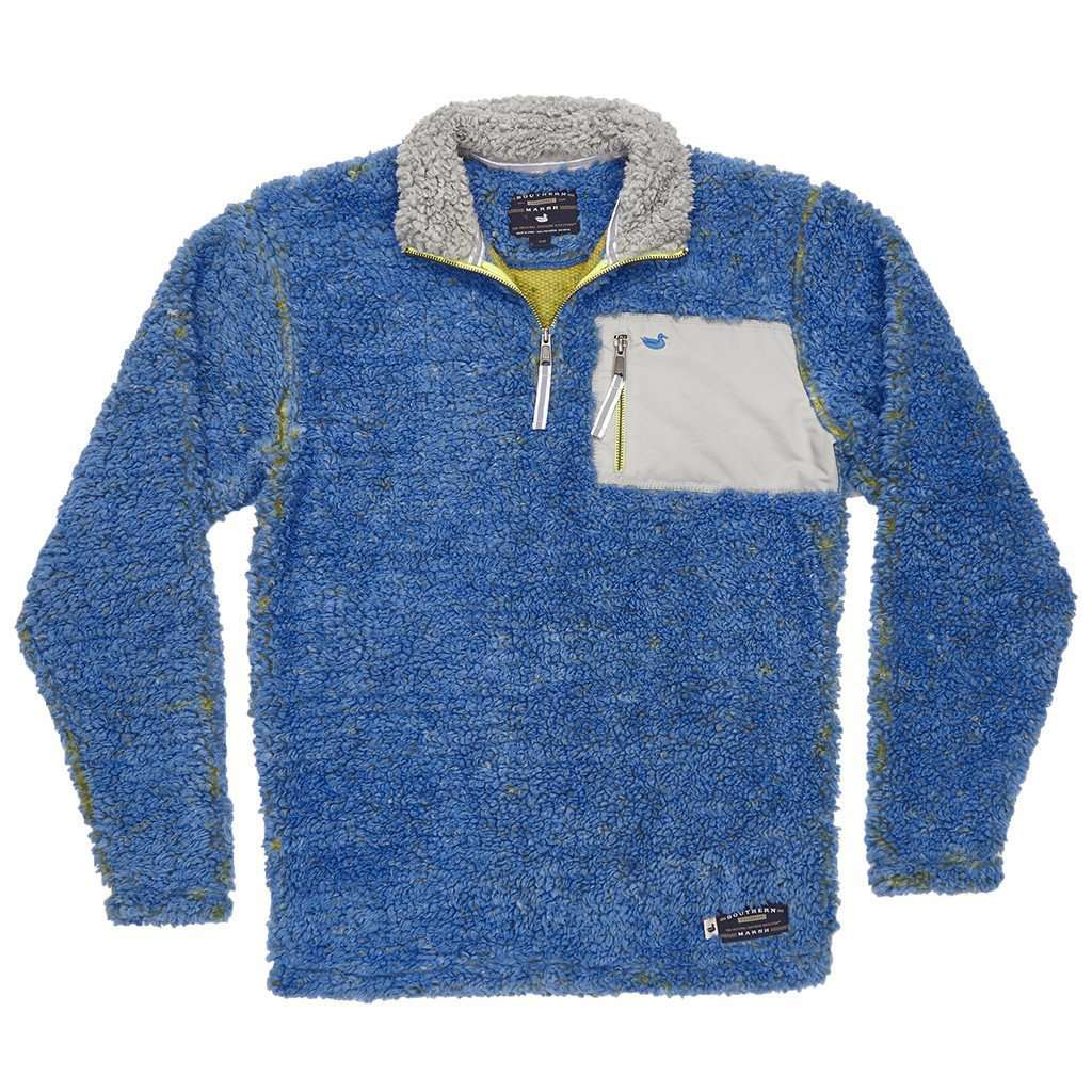 Piedmont Range Sherpa Pullover in French Blue and Mustard by Southern Marsh  - 1