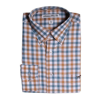 Southern Point The Hadley Shirt in Blue and Orange Check