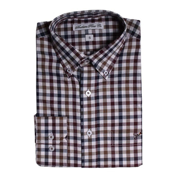 Southern Point The Hadley Shirt in Navy and Cranberry Check