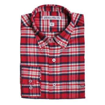 Southern Point Plantation Flannel in Red and White Plaid