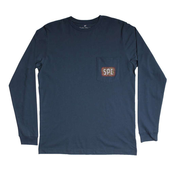 Watercolor Dog Long Sleeve Tee in Vintage Navy by Southern Point - FINAL SALE
