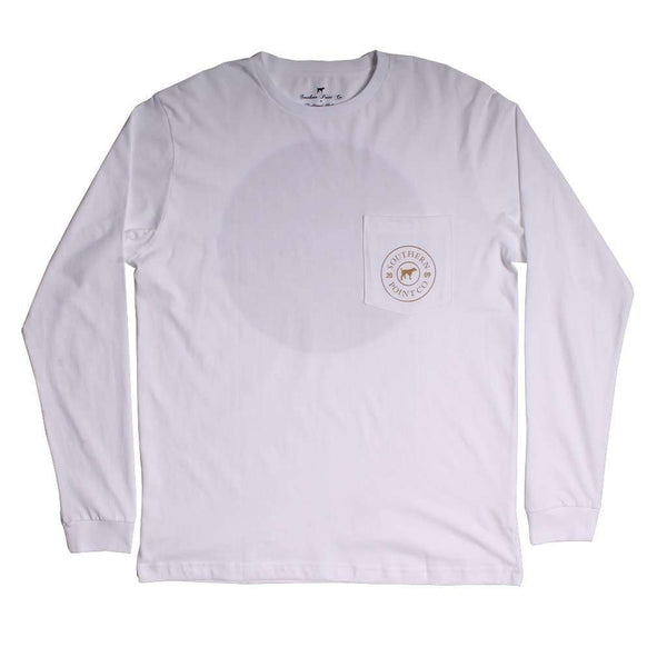Southern Point Shotgun Shell Long Sleeve Tee in White