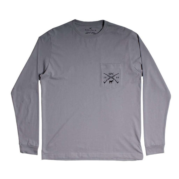 Shotgun and Pheasants Dog Long Sleeve Tee in Grey by Southern Point - FINAL SALE