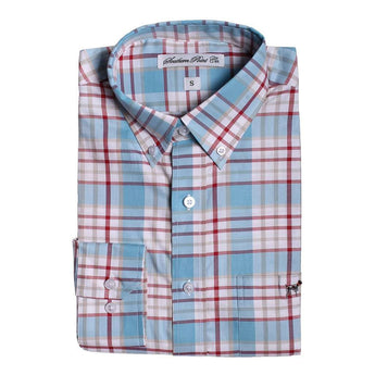 Southern Point The Hadley Shirt in Light Blue and Red Plaid