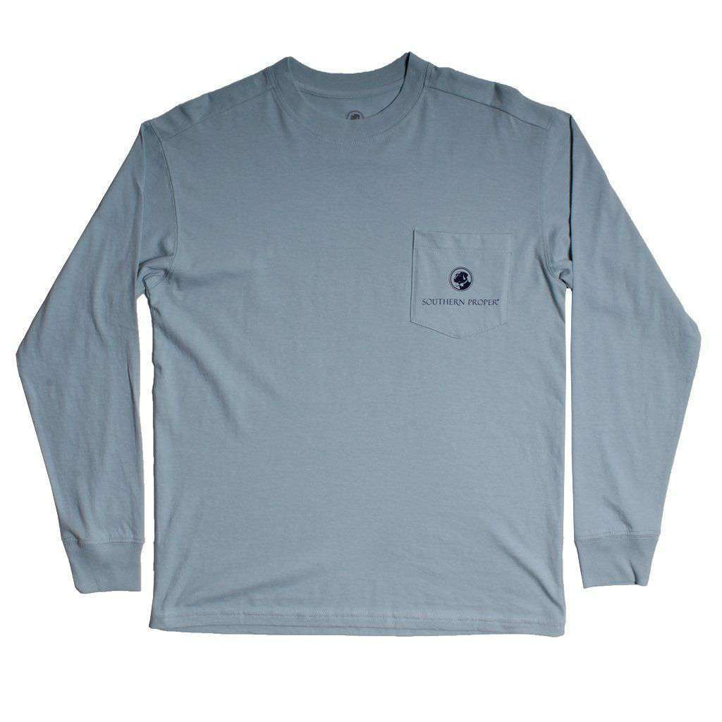 Southern Proper Deck Yourself Long Sleeve Tee in Shale Blue by Southern Proper
