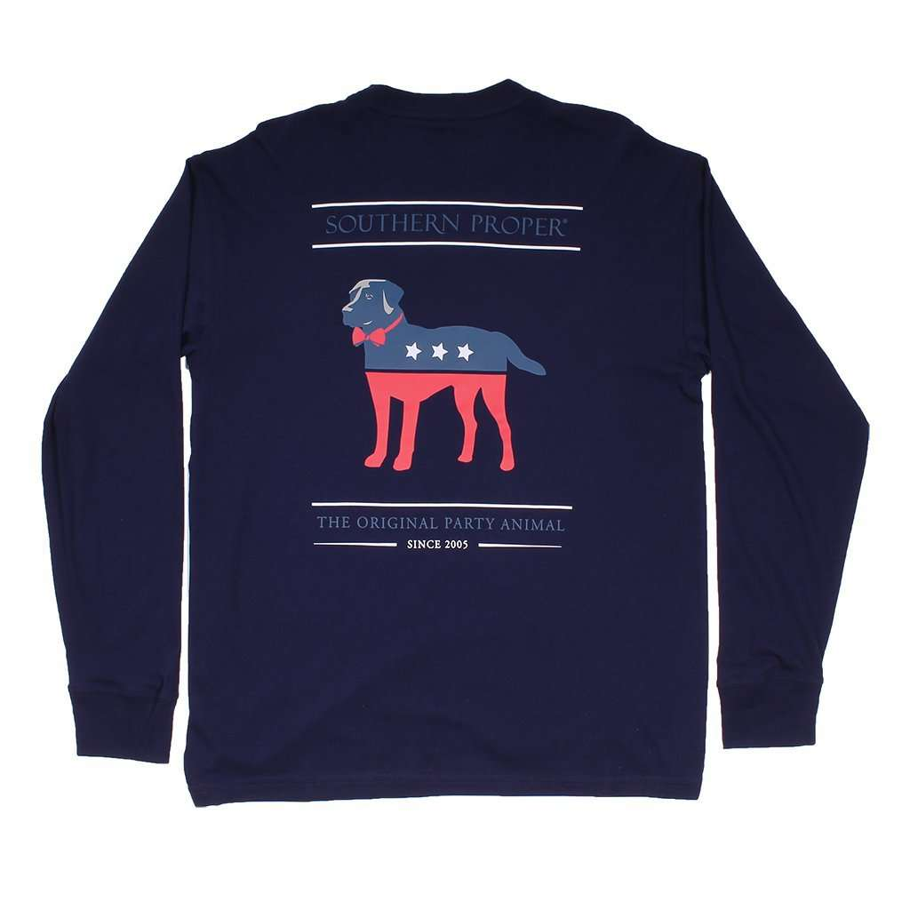 Southern Proper Party Animal Long Sleeve Tee in Midnight Blue