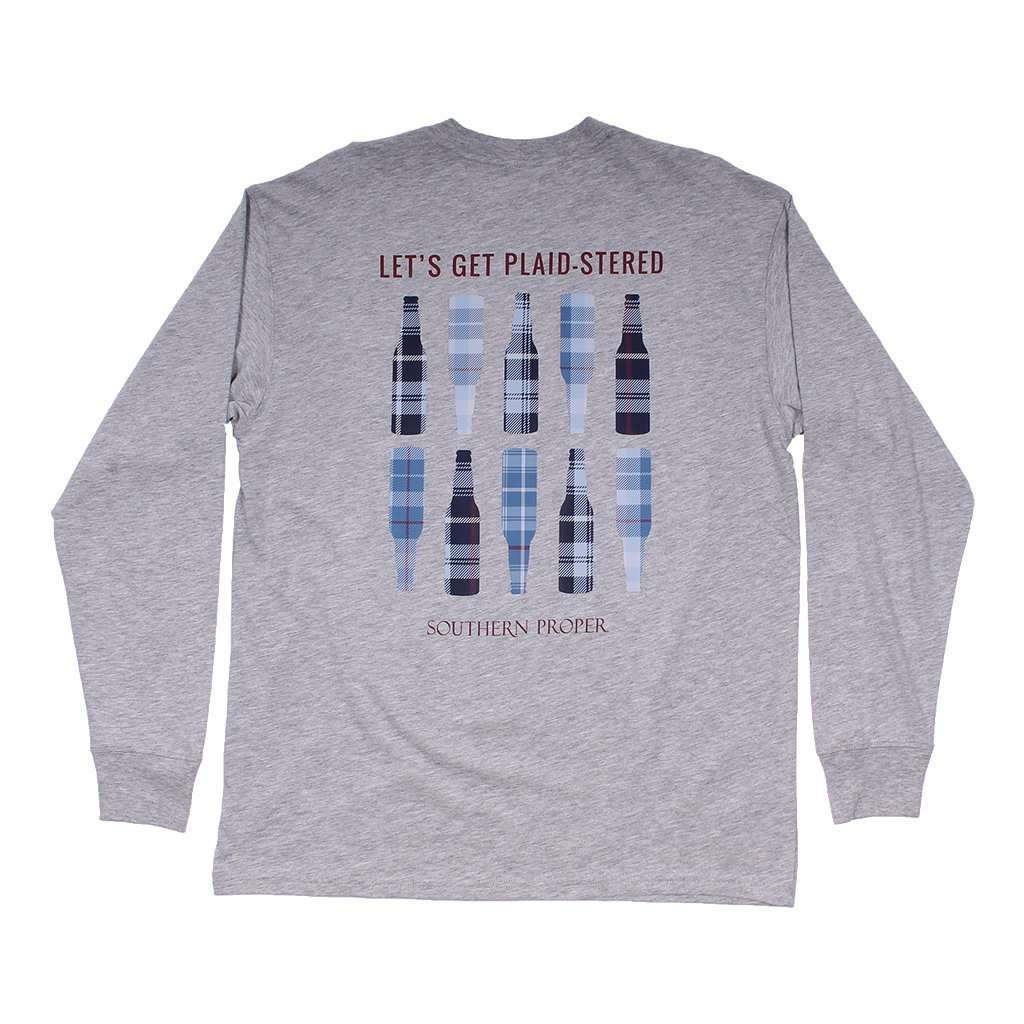 Southern Proper Plaid-stered Long Sleeve Tee in Heather Grey