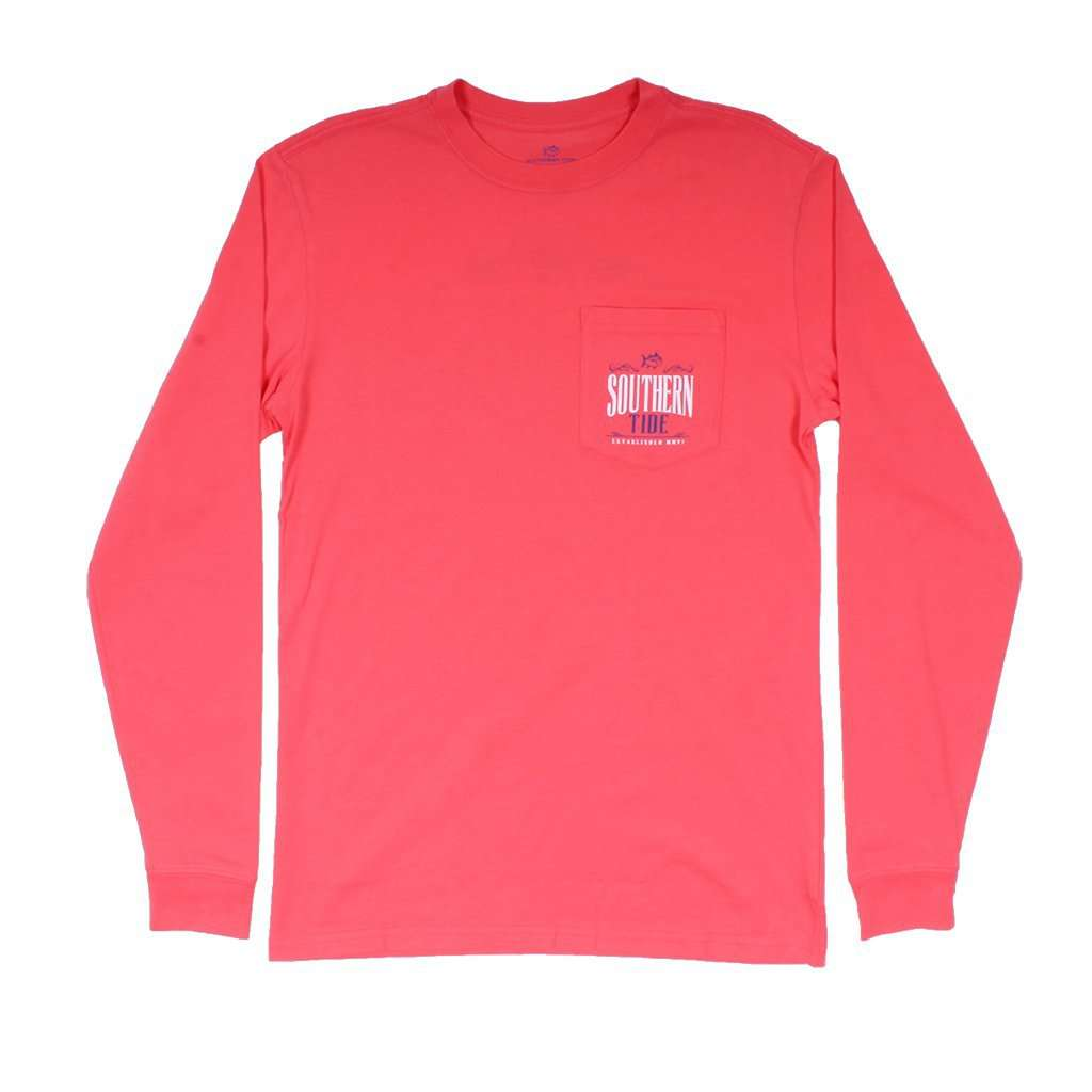 Southern Tide Long Sleeve Saloon T-Shirt in Sunset Coral