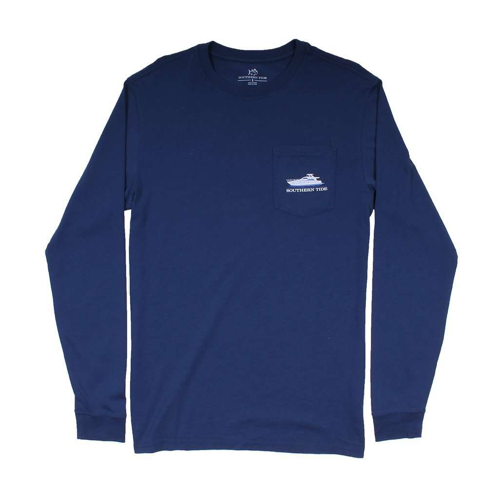 Southern Tide Southern Yacht Week Long Sleeve T-Shirt in Yacht Blue