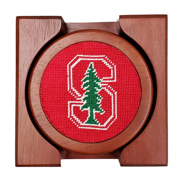 Stanford University Needlepoint Coasters in Red by Smathers & Branson