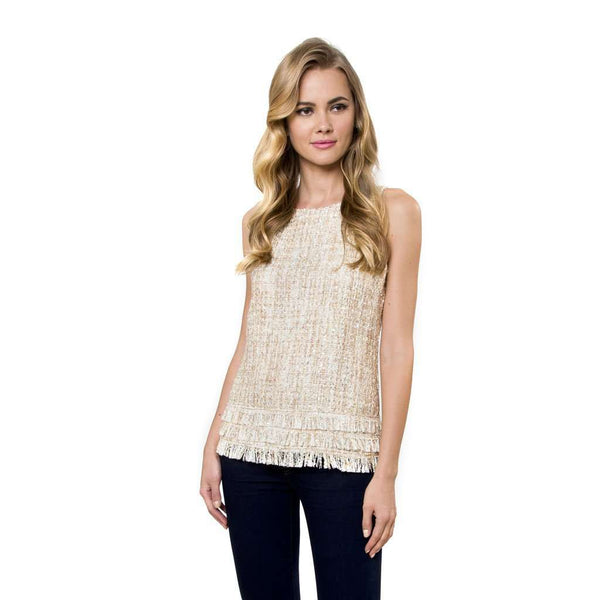 Julie Brown Starr Tweed Blouse in Ivory Oxford Tweed by Julie Brown