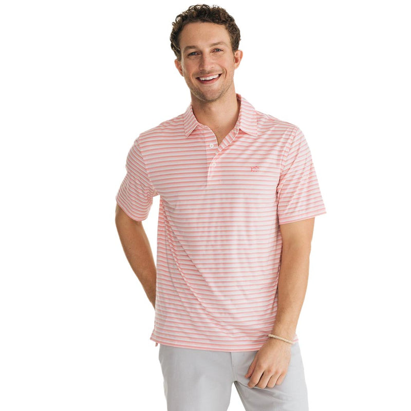Heathered Driver Striped Brrr Performance Polo by Southern Tide