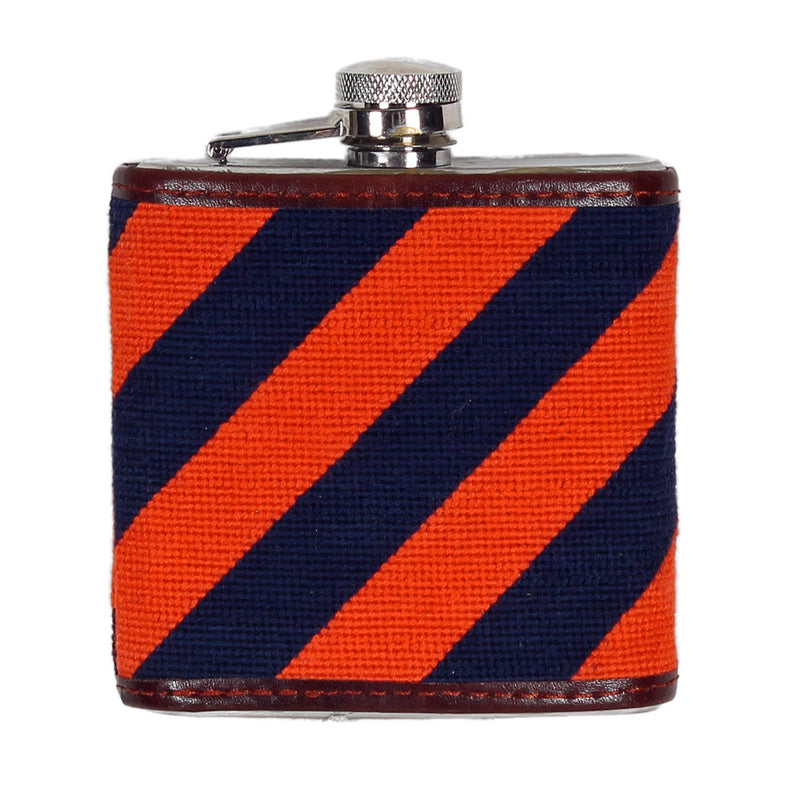 Orange and Navy Repp Stripe Needlepoint Flask by Smathers & Branson