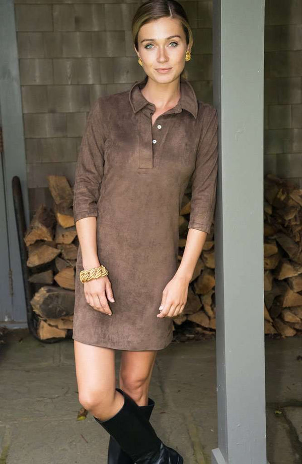 Suede Everywhere Dress in Brown by Gretchen Scott Designs - FINAL SALE