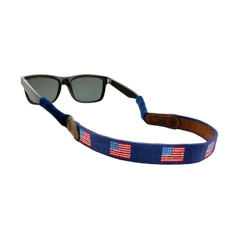 American Flag Needlepoint Sunglass Straps in Classic Navy by Smathers & Branson