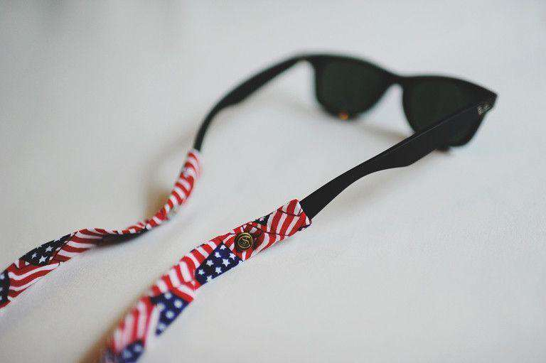 American Flag (Stripes) Sunglass Straps by CottonSnaps