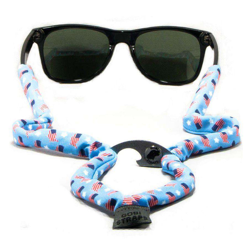 Sunglass Straps - Blue Stars & Flags Bottle Opener Sunglass Straps By Gobi Straps