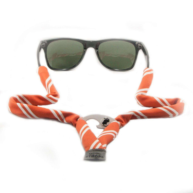 Sunglass Straps - Burnt Orange Striped Bottle Opener Sunglass Straps By Gobi Straps