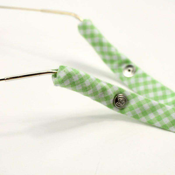 Gingham Generation 2.0 Sunglass Straps in Lime Green by CottonSnaps