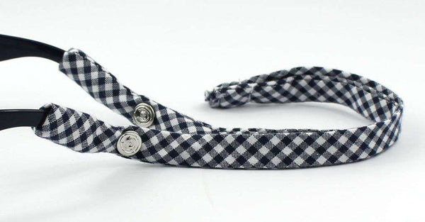Gingham Generation 2.0 Sunglass Straps in Navy by CottonSnaps